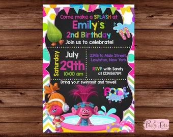 Trolls Pool Party birthday invitation - Trolls Pool Party invitation - Pool Party Invitation - Trolls Invitation. DIGITAL FILE