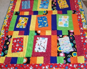 Dr Suess large throw quilt