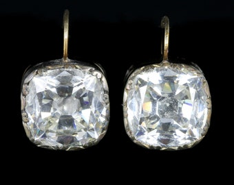 Antique Georgian Paste Earrings 18ct Gold and Silver