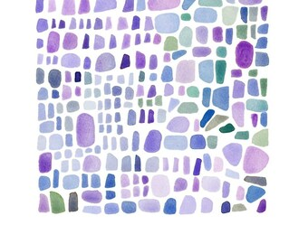 Summer Watercolor painting Seaglass Abstract painting lavender blue radiant orchid