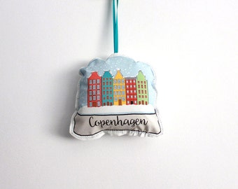 Copenhagen snow globe ornament: plush ornament- hostess gift under 10
