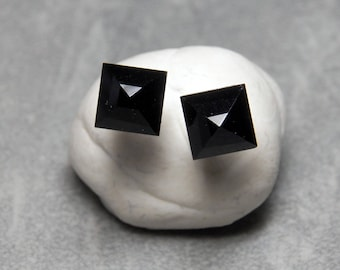 5mm Pyramid Black Onyx Gemstone Post Earrings with Sterling Silver