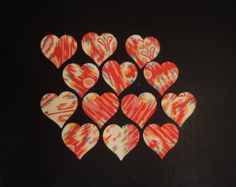 "Die Cut Applique Shapes. 13 Hearts,  2 1/4"".  Amy Butler, Lark, Kasbah, Persimmon.  Fusible(Iron On)"