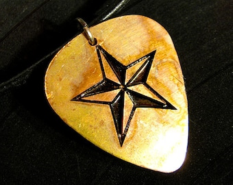 Nautical Star, Engraved Copper Guitar Pick Necklace