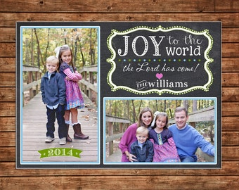 Photo Picture Christmas Holiday Card Chalkboard Chalk Whimsical Joy to the World  - Digital File