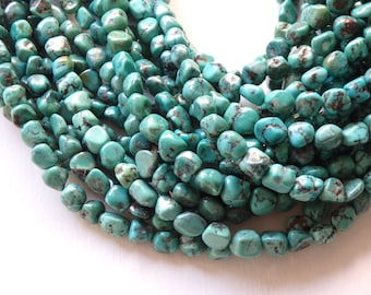 "8-10mm Natural turquoise nugget beads - 16"" strand of non-dyed irregular blue-green turquoise, natural turquoise nuggets, freeform turquoise"