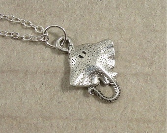 Stingray Necklace, Silver Stingray Charm on a Silver Cable Chain
