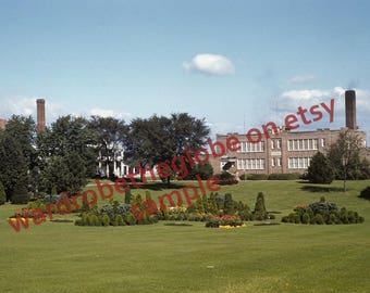 1941 Photo Hershey Pa School. Fanny B Memorial Hall Rose Gardens. DIGITAL DOWNLOAD Print. Kodachrome Color Slide. 40s Vernacular Found Photo