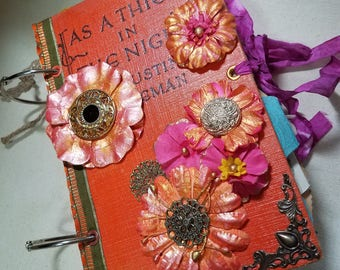 Ring Bound junk journal, Orange floral