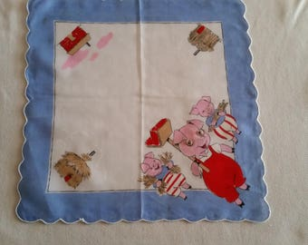 "Vintage children's ""Three Little Pigs"" hanky with googly eyes"