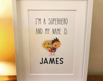 Children's Superhero Prints / Pictures - Print only (unframed)