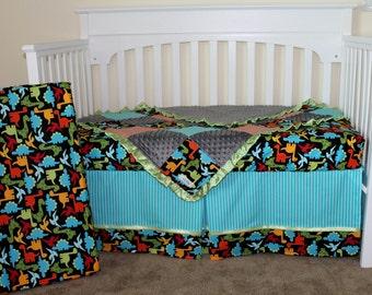 Custom Dinosaur Crib Set