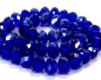 25 cobalt blue 8mm beads, Chinese crystal 8mm x 6mm rondelles