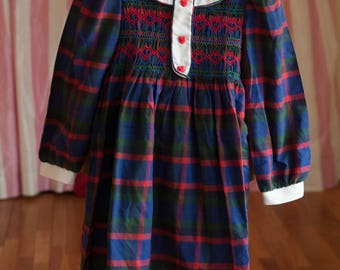 Vintage Girl's Dress -Plaid Hearts Smocked Floral Polly Flinders