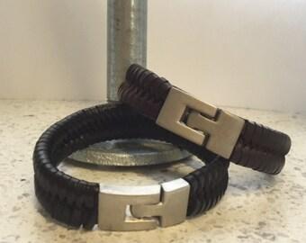Mens - Braided Leather - Bracelet