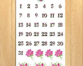 Floral Date Numbers Planner Stickers | Date Stickers | Monthly Stickers | Daily Stickers | Floral Stickers | Rose Stickers (DATE-002)