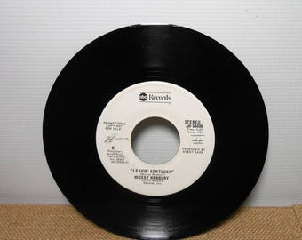 45 Record, Mickey Newbury, Leavin Kentucky / Hand Me Another of Those,  Vintage Vinyl Record, 45's, 7 inch, Elektra