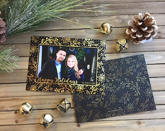 Digital Christmas Card - Customizable - Photo Christmas Card - Black and Gold Foliage