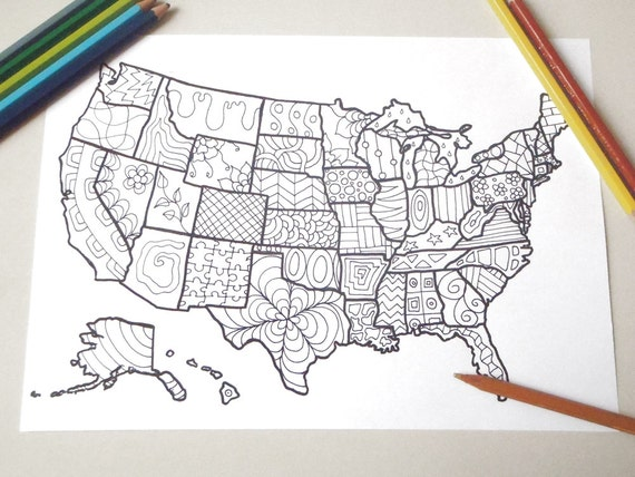 coloring map usa united states america book planner journal