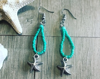 Teal satarfish earrings