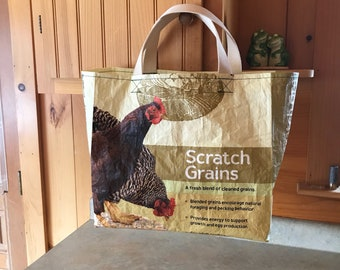 Up cycled grain bag tote / market bag/ grocery bag/ tote bag/ recycled/ upcycled tote/ upcycled bag