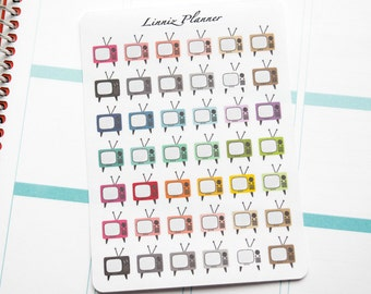 TV Regular size, retro, shows (matte planner stickers, perfect for planners)