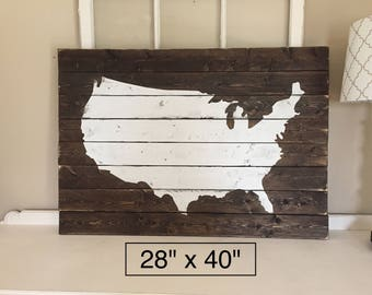 United States map wooden sign / USA map/ mancave decor /classroom decor / wall decor / handmade / map /