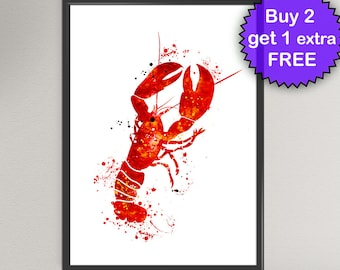 LOBSTER Watercolor Art Print Sea Life Ink Painting Underwater illustrations Art Print Wall Art Poster Giclée Wall Decor Art Home (Nº1)