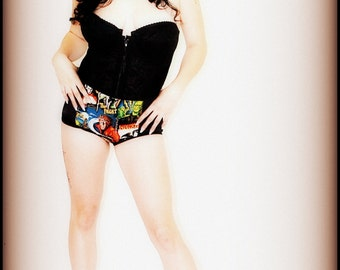 Burlesque Style Panties in Vintage Monsters Print Hollywood Bombshell High Waist Panty PLUS SIZE
