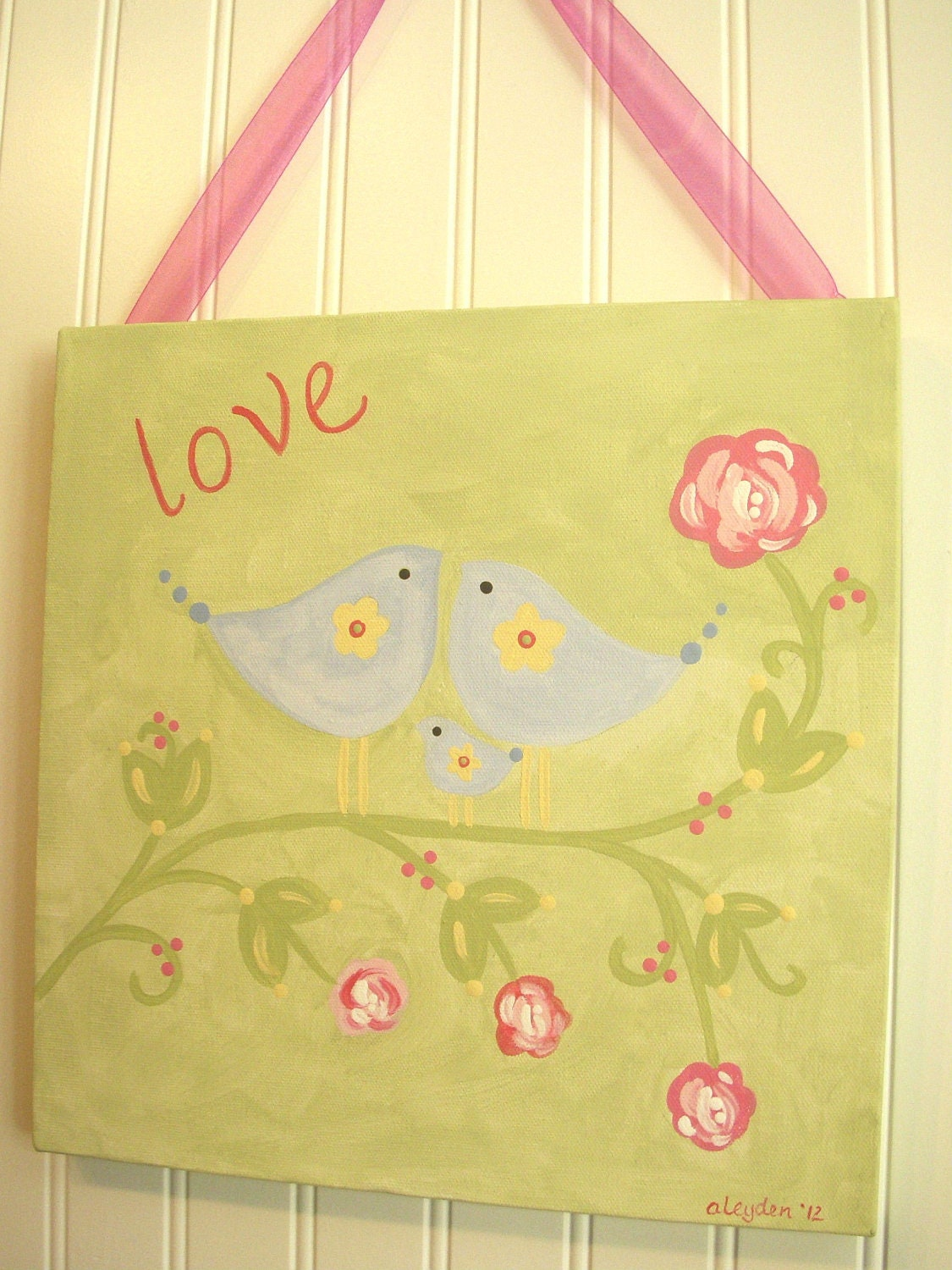 Girl canvas bird painting 12 x 12 Baby nursery decor Original