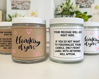 Thinking of You Candle - Just Because Candle Gift - Appreciation - Gratitude - Gift for Everyone - Personalized Candle -