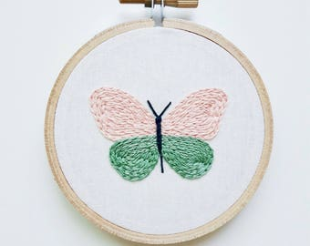 Butterfly Embroidery Hoop Art, Hand Embroidered Home Decor, Nature Embroidery, Botanical Art, Handmade Art