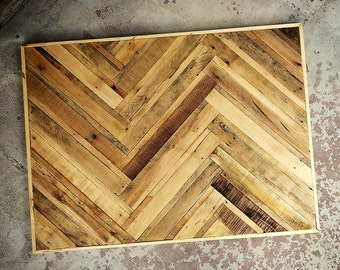 Reclaimed Pallet Wood Dining Table Top In A TreeBone Herringbone Pattern (Legs Not Included) (Local Delivery Only)