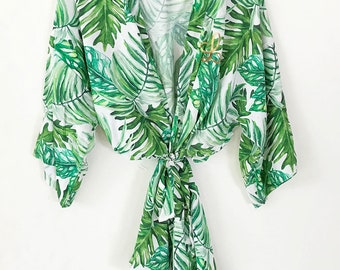 Tropical Bridesmaid Robes Set You Choose Qty - Beach Bridesmaid Robe - Beach Bride Gift Tropical Bridesmaid Gift (EB3267M)