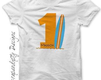 Toddler Summer Birthday Shirt - Birthday Iron on PDF File / Surfboard Iron on Transfer / Surfing Age Tshirt / Kids Ocean Party Tee T IT214