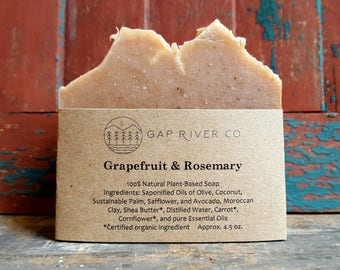 Grapefruit and Rosemary Soap with Organic Carrot and Moroccan Clay - Antioxidants and Nutrients - Natural and Vegan