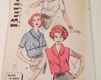"""1950s Blouse fitted sleeveless short sleeves button front shawl collar quick 'n easy vintage sewing pattern Butterick 8948 Size 14 bust 34"""""""