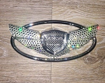 Swarovski Crystal Bling Hyundai Genesis Coupe Wing Car Emblem Rhinstones  Crystals Rear Trunk Front Grille