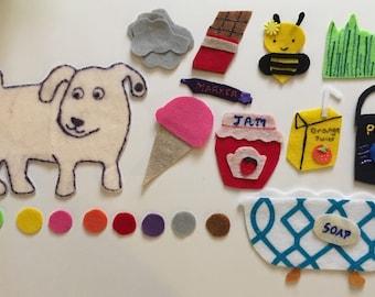 Dog's Colorful Day Felt Story - Children's Felt Board Story