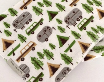 XL flannel baby blanket with vintage camp scene     -Airstream camper   -tent