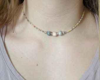 Jasper and Seed Bead Necklace Boho Necklace Handmade Necklace Choker Necklace Boho Choker Beachy Necklace