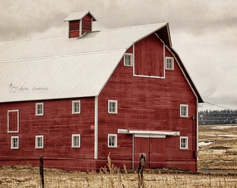 Rustic Red Barn Photography, Farmhouse Decor, Wall Art, Landscape Print, Farm Photography | 'Red On The Range'