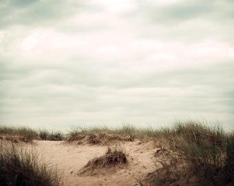 Sand Dunes Photograph, Beach Photography, Beach Grass Photo, Michigan Sand Dune Picture, Beach Cottage Decor,  Horizontal Coastal Wall Art