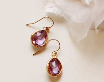 Purple Earrings Purple Bridesmaid Earrings Gold Drop Earrings Jacaranda Lilac Lavender Earrings Purple Wedding Jewelry Gift Jewelry