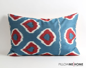 ikat pillow, silk ikat pillow cover, silk pillow, handwoven ikat, uzbek ikat pillow