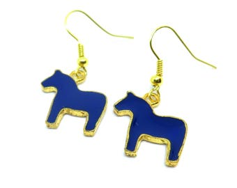 Royal Blue Horses Gold Dangle Earrings
