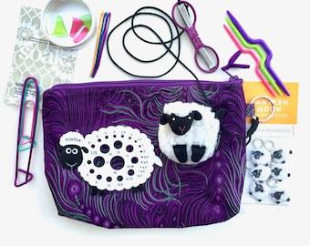 Knitting Notions Kit, HiyaHiya Accessory Case-Red, Black Needlepoint SlipNSnip Scissors Lantern Moon Sheep Tape Measure, Stitch Markers 11PC
