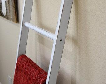 Blanket Ladder, Rustic Vintage Ladder, quilt ladder rack, white and walnut distressed wood furniture 5', stepladder, wooden ladders