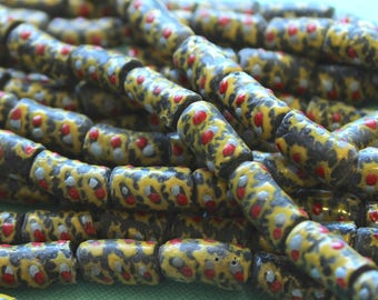 African Sandcast Beads from Ghana, Clear Grey with Red, Yellow, & Light Blue - ASC-T-051