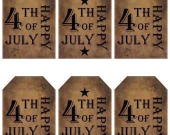 grungy tag set, primitive tags, craft supplies, scrapbooking - Happy 4th of July - digital PDF & jpeg - H4JGT01